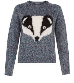 Navy Badger Knitted Jumper