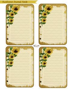 Free Sunflower journal cards