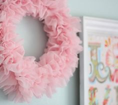 for the girls room Ruffle Wreath - Cluck Cluck Sew Pink Christmas, Christmas Wreaths, Winter Wreaths, Spring Wreaths, Summer Wreath, Cute Crafts, Diy And Crafts, Pink Wreath, Burlap Wreaths