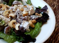Cashew Chicken Salad with Grapes Very loosely adapted from a Southern Living recipe  1/4 cup mayonnaise 1/4 cup sour cream 1 1/2 teaspoons f...