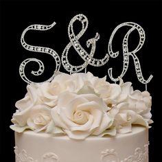 Vintage Elegance Crystal Letters Wedding Cake Topper