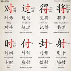 "The radical ""寸"" [cùn] (inch) and characters containing it"