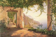 Amalfi painting. Final choice for carved mahogany frame over fireplace.