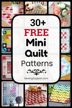 Free Mini Quilt Patterns - Free Quilt Patterns for Mini Quilts. Over 30 free mini quilt patterns, tutorials, and diy sewing pr - Mini Quilts, Easy Quilts, Small Quilts, Diy Sewing Projects, Sewing Projects For Beginners, Sewing Tutorials, Sewing Tips, Sewing Hacks, Small Quilt Projects