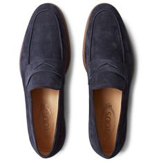 Tod's Suede Penny Loafers ($625) ❤ liked on Polyvore featuring mens, men's shoes, men's loafers, jinsu shoes and men