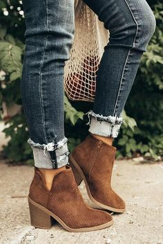 The Stella Perforated Bootie in Chocolate - ankle boots/ Stiefeletten/ boots - Zapatos Ideas Mens Ankle Boots, Black Leather Ankle Boots, Black Boots, Ankle Boot Outfits, Fall Ankle Boots, Leather Shoes, Cute Ankle Boots, Boots Women, Leather Booties