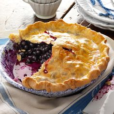Blueberry Pie with Lemon Crust Recipe -I just had to share this blueberry pie recipe. Mom and I have fun making it together, and I hope one day to be a great baker like she is. Best Blueberry Pie Recipe, Blueberry Recipes, Blueberry Pies, Blackberry Pie, Empanadas, Quiche, Pie Crust Recipes, Pie Crusts, Fruit Pie
