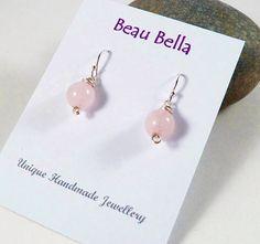 Rose Quartz Earrings Wire Wrapped Gemstone Jewellery