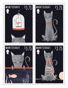 Cat Stamps by Dana Goldberg