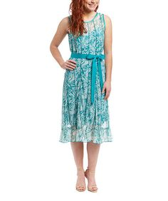 This Teal Floral Tie-Waist Sleeveless Dress - Women by Jessica Howard is perfect! #zulilyfinds