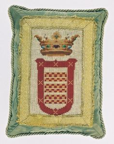 Early 19th. Century Heraldic Needlework with gold Braid. From Catherine Shinn.com