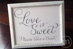 Love is Sweet Candy Buffet Dessert Station Table Card Sign - Wedding Reception Seating Signage - Matching Numbers Available SS01 on Etsy, $10.00