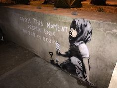 """'New appeared at Marble Arch site of last night: """"From this moment despair ends and tactics begin. Despair is the infantile disorder of the revolutionaries of everyday life."""" Quote from Raoul Vaneigem's The Revolution of Everyday Life 1967 ' Banksy Mural, Banksy Artwork, Graffiti Art, Street Work, 12 Monkeys, London Landmarks, Climate Change Effects, Powerful Images, London Art"""