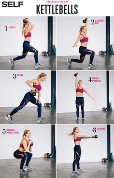Beginner Kettlebell Exercises To Work Your Entire Body These kettlebell moves deliver toning, core strengthening and a cardio session—all in one workout.These kettlebell moves deliver toning, core strengthening and a cardio session—all in one workout. Circuit Kettlebell, Kettlebell Challenge, Kettlebell Swings, Kettlebell Deadlift, Full Body Kettlebell Workout, Trx, Fitness Motivation, Fitness Goals, Fitness Tips