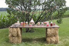 Western party setup with a great table idea!
