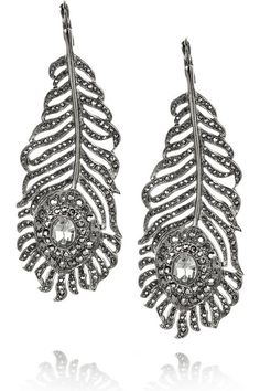 Gunmetal-tone metal peacock feather earrings with gray Swarovski crystal embellishment for pierced ears. Kenneth Jay Lane earrings have a large crystal at center and a hook to fasten to ear. Peacock Earrings, Feather Earrings, Swarovski Crystal Earrings, Rhinestone Earrings, Kenneth Jay Lane, Hello Cute, Large Crystals, Jewelry Trends, Crochet Earrings