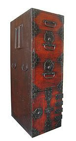 """Antique Japanese Travelor's Box      This travelers box has three drawers two with locks and a safe box with four drawers, one locks. It has iron hardware with the original hand forged handles. The side has three handles two are small rounded handles and one large rectangular handle. It measures 13"""" wide 18"""" deep 40.75"""" tall.  Oh, I long for this!"""