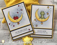 Coucou à toutes , aujourd'hui je vous présente ces superbes cartes réalisées avec une combinaison de 2 sets de tampons : » Love You Lots » et » Moon Baby …