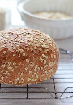 No-knead honey whole wheat bread