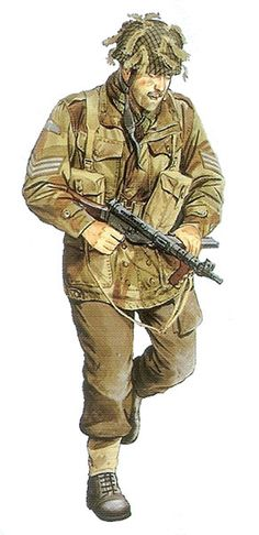 British Airborne WWII,Sten Gun, pin by Paolo Marzioli Mais British Uniforms, Ww2 Uniforms, Military Art, Military History, Military Figures, British Soldier, British Army, Commonwealth, Military Drawings
