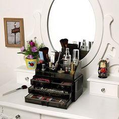 Acrílico-maquillaje-cosmética-joyería-organizador-Almacenamiento-Case-titular-Box-4-Cajón-Rack