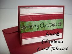 Tutorial | Lightning Fast Christmas Card from Summer Scraps – Scrap Booking Crafts Christmas card DIY Make your own handmade stamped