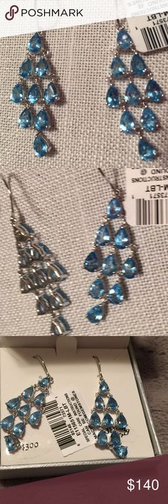 💕Beautiful 💕NWT Blue Topaz Chandelier Earrings😍 Brand New with tag attached and in original box and packaging, this Beautiful Pair of Blue Topaz Chandelier Earrings. Set in Sterling Silver. Chandelier portion is approximately 1.5 inches in length and at 3-stone ( widest part) portion of Chandelier is 5/8 inch. So pretty. My photography skills do not do these justice! Two pair available-have second listing. Price fairly firm. No bundling. Feel free to ask questions or for additional pics…