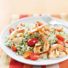 Grilled Shrimp with Lemon-Pesto Rice