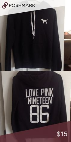 Victoria Secret Pink black hoodie Comfy and cute! PINK Victoria's Secret Tops Sweatshirts & Hoodies