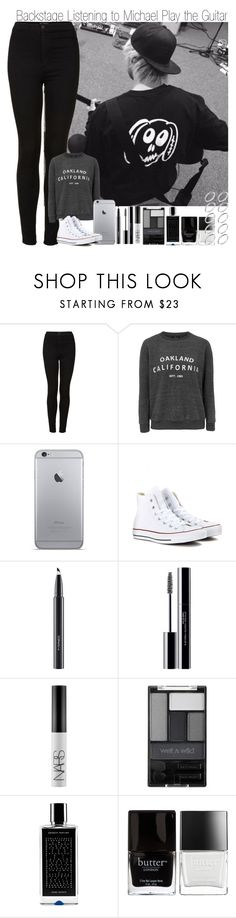 """Backstage Listening to Michael Play the Guitar"" by elise-22 ❤ liked on Polyvore featuring Topshop, Converse, MAC Cosmetics, shu uemura, NARS Cosmetics, Wet n Wild, Agonist, Butter London and ASOS"