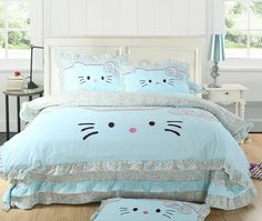 A Blue Queen King Hello Kitty Bedding (NEW) [AMJ001]