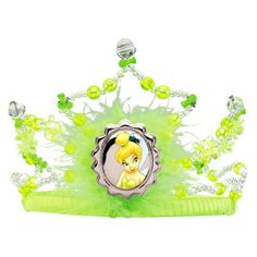 Tinker Bell Tiara This sequin and feather tiara should have your little girl feel a fairy princess. It has a Tinker bell cameo logo in front.