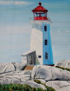 Peggys Cove Lighthouse Painting  - Peggys Cove Lighthouse Fine Art Print