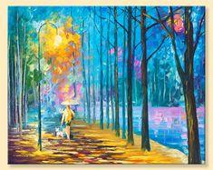 Walking My Dog 2  Limited Edition Evening Rain by AfremovArtStudio