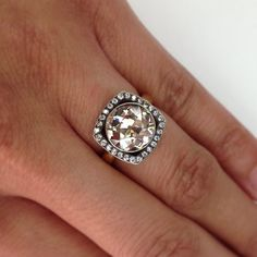 3.48ct Brown old European cut diamond ring! A hand crafted Single Stone original
