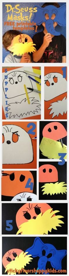 Dr Seuss' The Lorax AND Horton Masks- FREE Printable Templates and Instructions