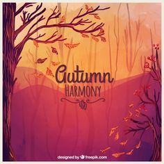 Autumn harmony background Free Vector