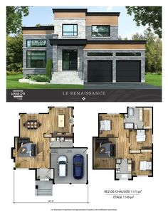 New houses with flat roofs for sale – Construction Louis-Seize - Home & DIY Sims 4 House Plans, Modern House Floor Plans, House Layout Plans, Contemporary House Plans, Dream House Plans, House Layouts, Sims 4 House Design, Modern House Design, Casas The Sims 4