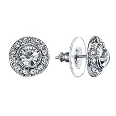 A classic style with a glamorous sparkle. Featuring a pair of clear crystal stud earrings with a halo of smaller crystals. Absolutely dazzling!