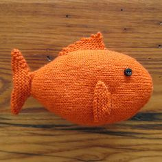 The tail and body of this fish are knit in one piece, stuffing as you go. Then just pick up stitches for the fins.