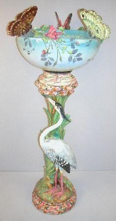 majolica pottery | Majolica Pottery; Massier (Delphin), Jardiniere & Pedestal ...