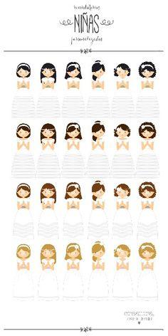 """Recordatorios de comunión personalizados. Una colección de """"avatares"""" de niñas para personalizar los recordatorios, marcapáginas, etiquetas e invitaciones de comunión. Incluso también los elementos gráficos que decoran y dan ese toque especial a las mesas dulces. Podrás escoger y combinar el que más se parezca a tu peque, porque tienes varios modelos de vestidos de niñas, con distintos peinados y complementos. #avatar #comunión #recordatorio #marcapaginas #style #stylish #instalove…"""