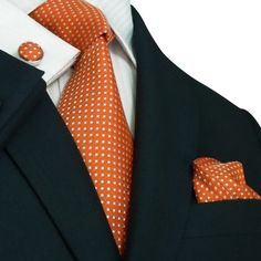 Orange Silk Necktie Set JPM27M. Nice! Dark with a spark of color!! Perfection.
