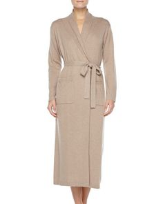 Long Cashmere-Silk Robe, Taupe by Neiman Marcus at Neiman Marcus.