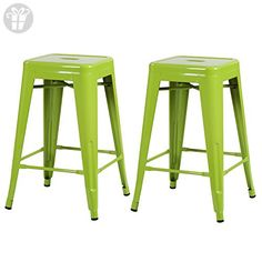 """Adeco 2015 New Arrival! Green 24"""" Metal Tolix Style Counter Dining Stools, Set of Two (*Amazon Partner-Link)"""