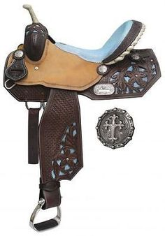 """14"""", 15"""", 16"""" Double T Barrel Style Saddle with Sting Ray Accents MPN 6587"""