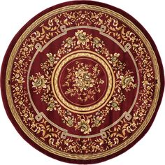 Red 6' 7 x 6' 7 Classic Aubusson Round Rug | Area Rugs | eSaleRugs