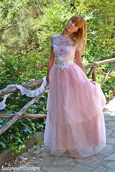 Pink Lace Wedding Dress / Bridal Wedding Gown - Handmade by SuzannaM Designs