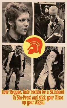 "Trojan Skinhead Poster -""Love Reggae, hate racism, be a in sta-prest ."