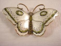 Vintage Sterling Silver Enameled Hroar Prydz Butterfly Pin Brooch Norway *Rare*   eBay
